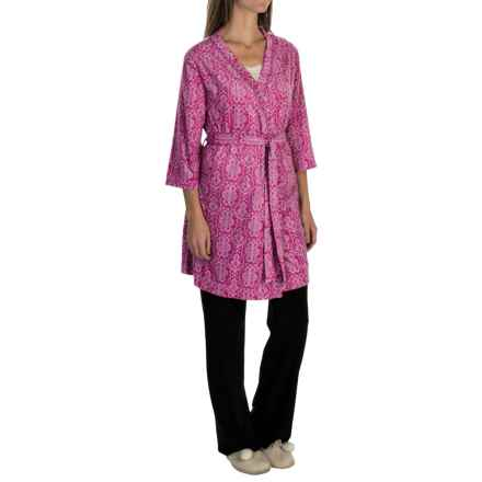 Soybu Spa Zen Silky Fleece Robe - 3/4 Sleeve (For Women) in Purple Script - Closeouts