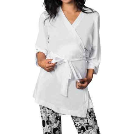 Soybu Spa Zen Stretch-Jersey Robe - 3/4 Sleeve (For Women) in White - Closeouts