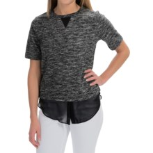 Space-Dye French Terry Shirt - Short Sleeve (For Women) in Black - 2nds