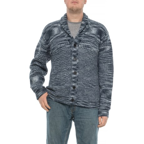 Image of Space-Dyed Shawl Collar Cardigan Sweater (For Big and Tall Men)
