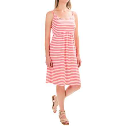Spaghetti Strap Tank Dress - Cotton-Modal (For Women) in Coral/White Stripe - 2nds