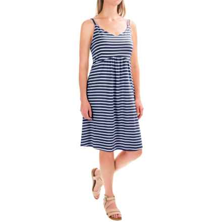 Spaghetti Strap Tank Dress - Cotton-Modal (For Women) in Navy/White Stripe - 2nds