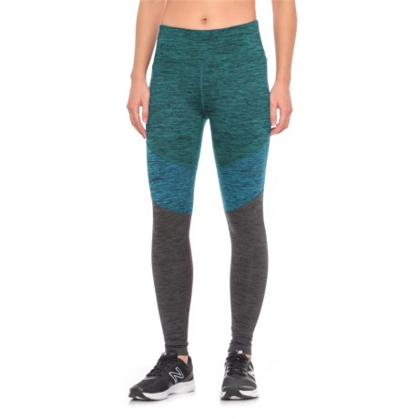 Spalding Color-Blocked Leggings (For Women) in Teal Combo