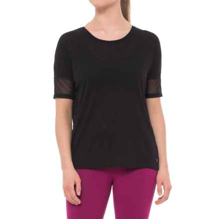 Spalding Crepe Wedge T-Shirt - Short Sleeve (For Women) in Deep Black - Closeouts
