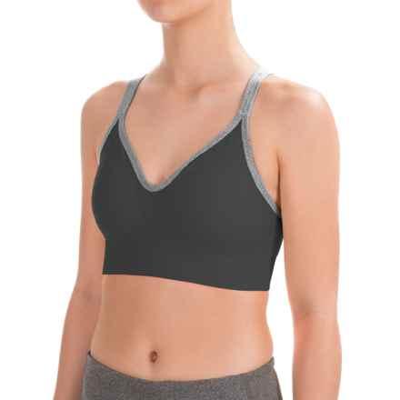 Spalding Heathered-Strap Sports Bra - Medium Impact (For Women) in Deep Black/Charcoal Heather Trim - Closeouts