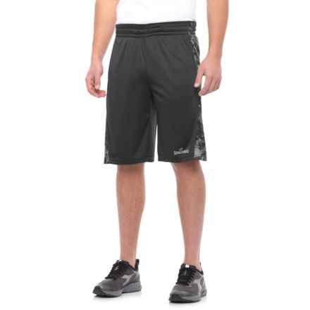 "Spalding Interlock Basketball Shorts - 11"" (For Men) in Black/Black Print/High Light - Closeouts"