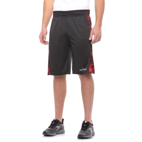 "Spalding Interlock Basketball Shorts - 11"" (For Men) in Black/Red Print/White"