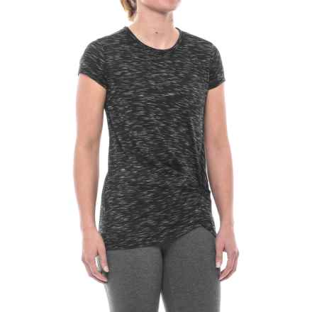 Spalding Knotted Studio T-Shirt - Short Sleeve (For Women) in Streak Black Heather - Closeouts