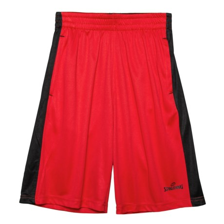 Spalding Pregame Interlock Shorts (For Big Boys) in Red