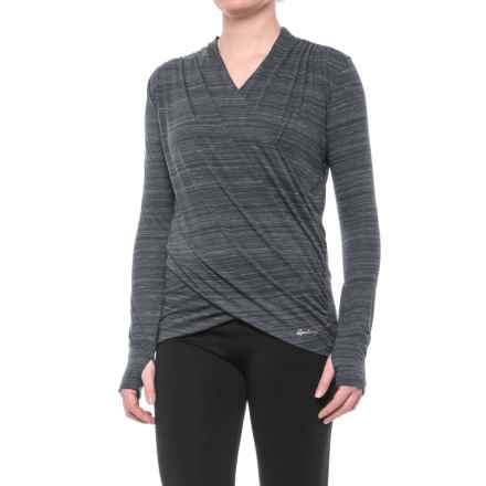 Spalding Studio Dance Wrap Shirt - Long Sleeve (For Women) in Black/White - Closeouts