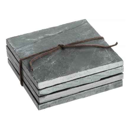 SPARQ Home Slate Coasters - Set of 4 in Slate - Overstock