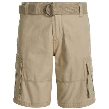 Specially made Belted Cargo Shorts (For Big Boys) in Khaki - Closeouts