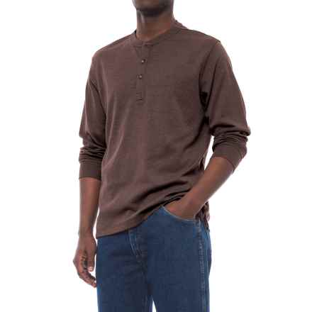Specially made Buttoned Henley Shirt - Long Sleeve (For Men) in Brown Heather - 2nds