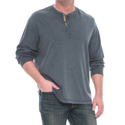 Specially made Buttoned Henley Shirt - Long Sleeve (For Men) in Dark Blue Heather - 2nds