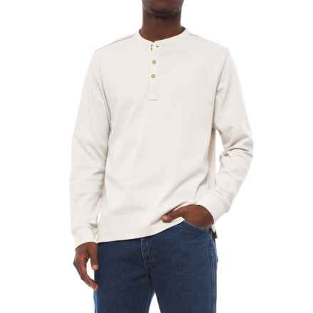 Specially made Buttoned Henley Shirt - Long Sleeve (For Men) in Tan Heather - 2nds