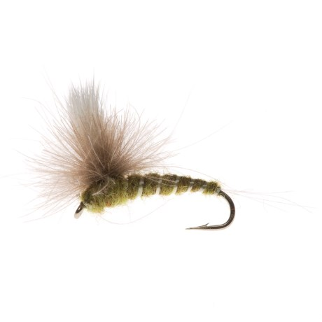 Specially made CDC Para Green Dry Fly - Dozen in Natural