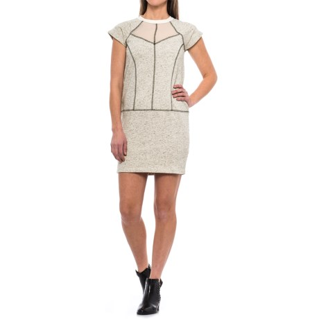 Specially made Chiffon Yoke French Terry Dress - Short Sleeve (For Women) in Beige