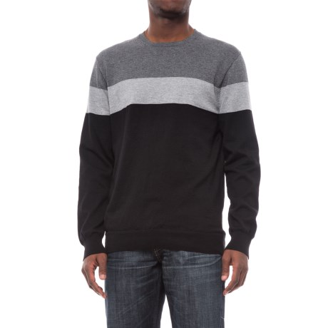 Specially made Color-Block Fine-Knit Sweater (For Men) in Black/Light Grey Heather/Grey Heather