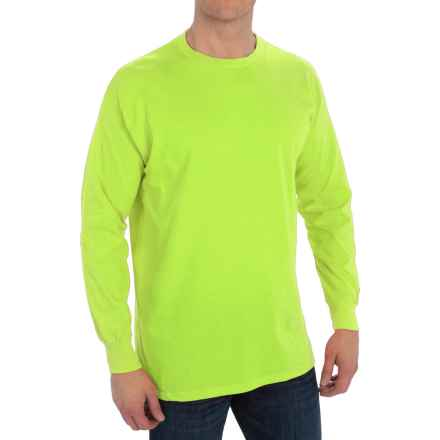 Specially made Cotton Blend Crew Shirt - Long Sleeve (For Men) in Fluorescent Yellow - 2nds