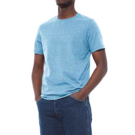 Specially made Cotton-Blend T-Shirt - Crew Neck, Short Sleeve (For Men) in Sky Heather - 2nds