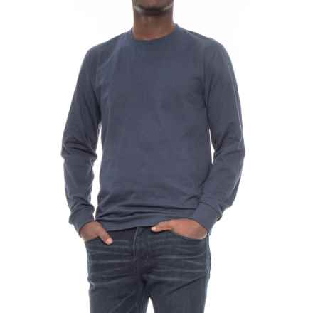 Specially made Cotton Crew Neck T-Shirt - Long Sleeve (For Men) in Navy - 2nds