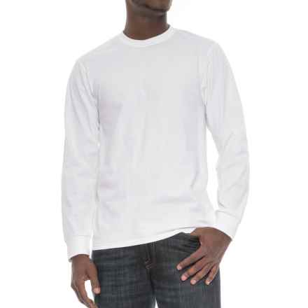 Specially made Cotton Crew Neck T-Shirt - Long Sleeve (For Men) in White - 2nds