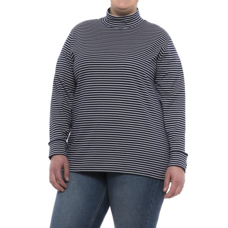 Specially made Cotton Mock Neck Shirt - Long Sleeve (For Plus Size Women) in Navy/White Stripe