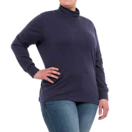 Specially made Cotton Mock Neck Shirt - Long Sleeve (For Plus Size Women) in Navy - 2nds