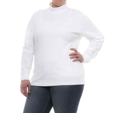 Specially made Cotton Mock Neck Shirt - Long Sleeve (For Plus Size Women) in White - 2nds