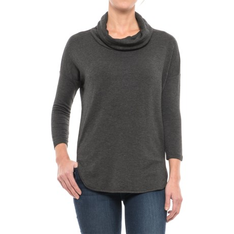 Specially made Cowl Neck Shirt - 3/4 Sleeve (For Women) in Charcoal