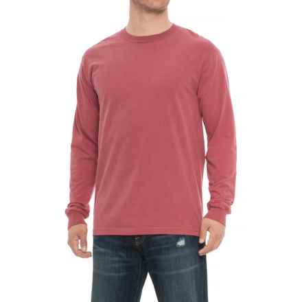 Specially made Crew Neck T-Shirt - Long Sleeve (For Men) in Crimson - Closeouts