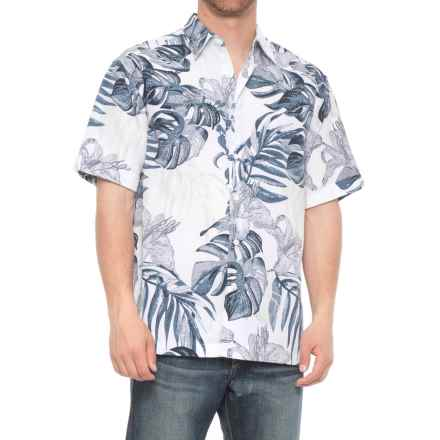 Specially made Cuffed Tropical Print Shirt - Short Sleeve (For Men) in Bright White - 2nds