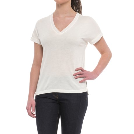 Specially made Deep V-Neck T-Shirt - Short Sleeve (For Women) in Coccoon