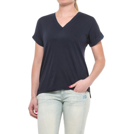 Specially made Deep V-Neck T-Shirt - Short Sleeve (For Women) in Navy