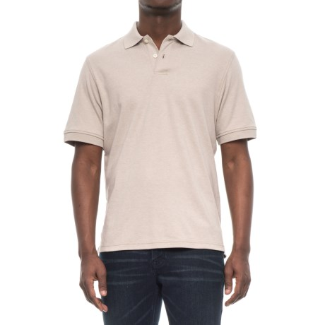 Specially made Double-Button Solid Knit Polo Shirt - Short Sleeve (For Men) in Beige Heather