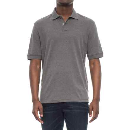 Specially made Double-Button Solid Knit Polo Shirt - Short Sleeve (For Men) in Dark Grey Heather - 2nds