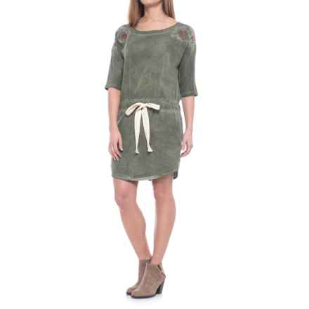 Specially made Drawstring Waist Dress - Elbow Sleeve (For Women) in Olive - 2nds