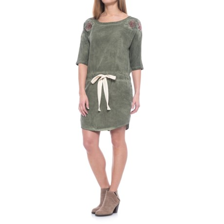 Specially made Drawstring Waist Dress - Elbow Sleeve (For Women) in Olive