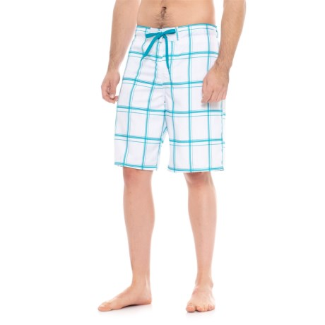 Specially made Drawstring Waist Plaid Boardshorts (For Men) in Artic White Combo