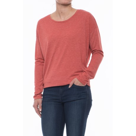 Specially made Drop-Shoulder T-Shirt - Long Sleeve (For Women) in Burnt Orange