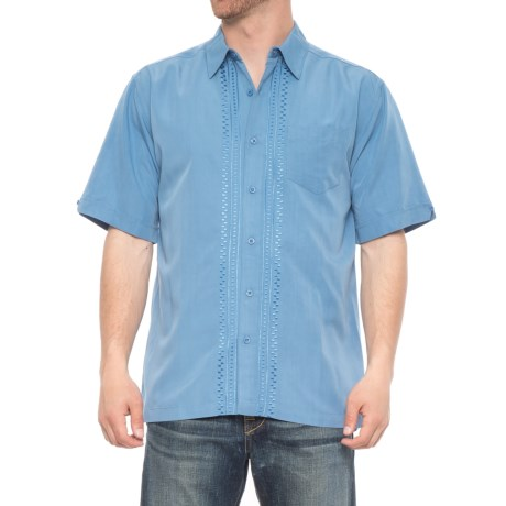 Specially made Embroidered Trim Shirt - Short Sleeve (For Men) in Rivera