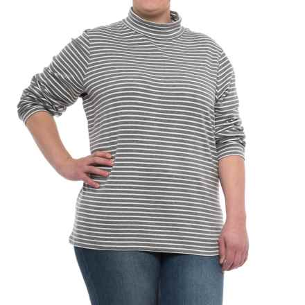 Specially made Fine-Knit Striped Turtleneck - Long Sleeve (For Women) in Pewter Heather Stripe - 2nds