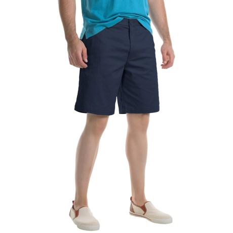 Specially made Flat-Front Twill Shorts (For Men) in Navy