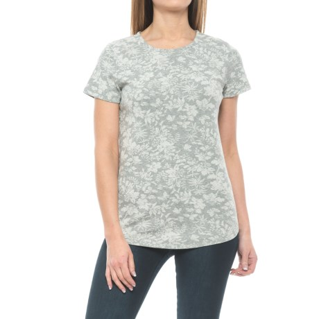 Specially made Floral Print Knit Shirt - Short Sleeve (For Women)