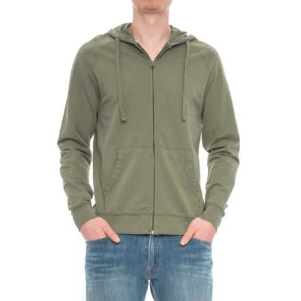 Specially made French Terry Full-Zip Hoodie (For Men) in Light Olive - Closeouts