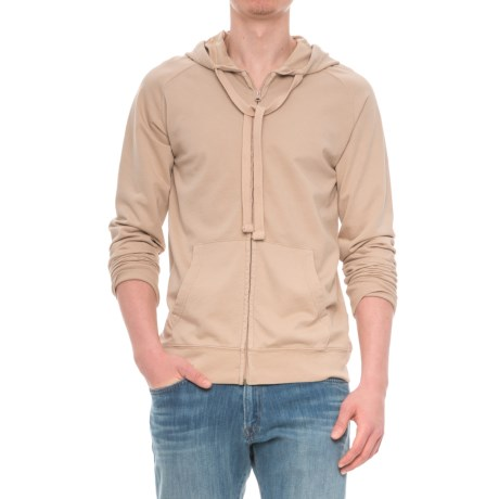 Specially made French Terry Full-Zip Hoodie (For Men) in Tan