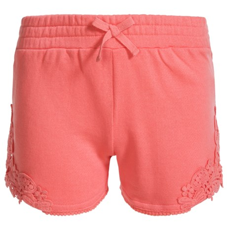 Specially made French Terry Lace-Accent Shorts (For Big Girls) in Coral