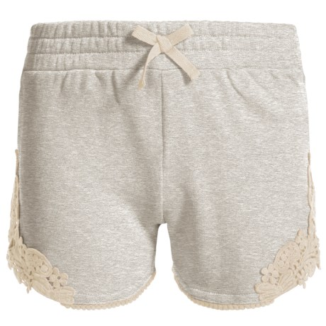 Specially made French Terry Lace Accent Shorts (For Little Girls) in Cement