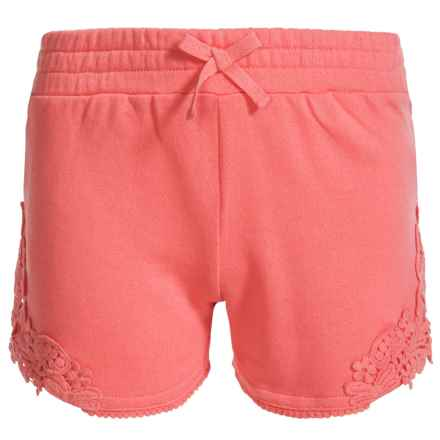 Specially made French Terry Lace Accent Shorts (For Little Girls) in Coral - Closeouts