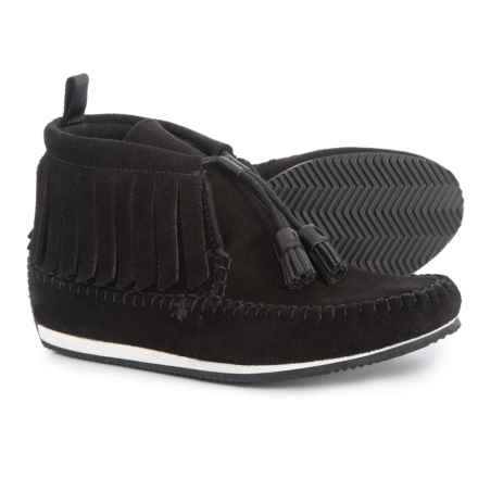 Specially made Fringe Trim Moccasins (For Women) in Black/Black